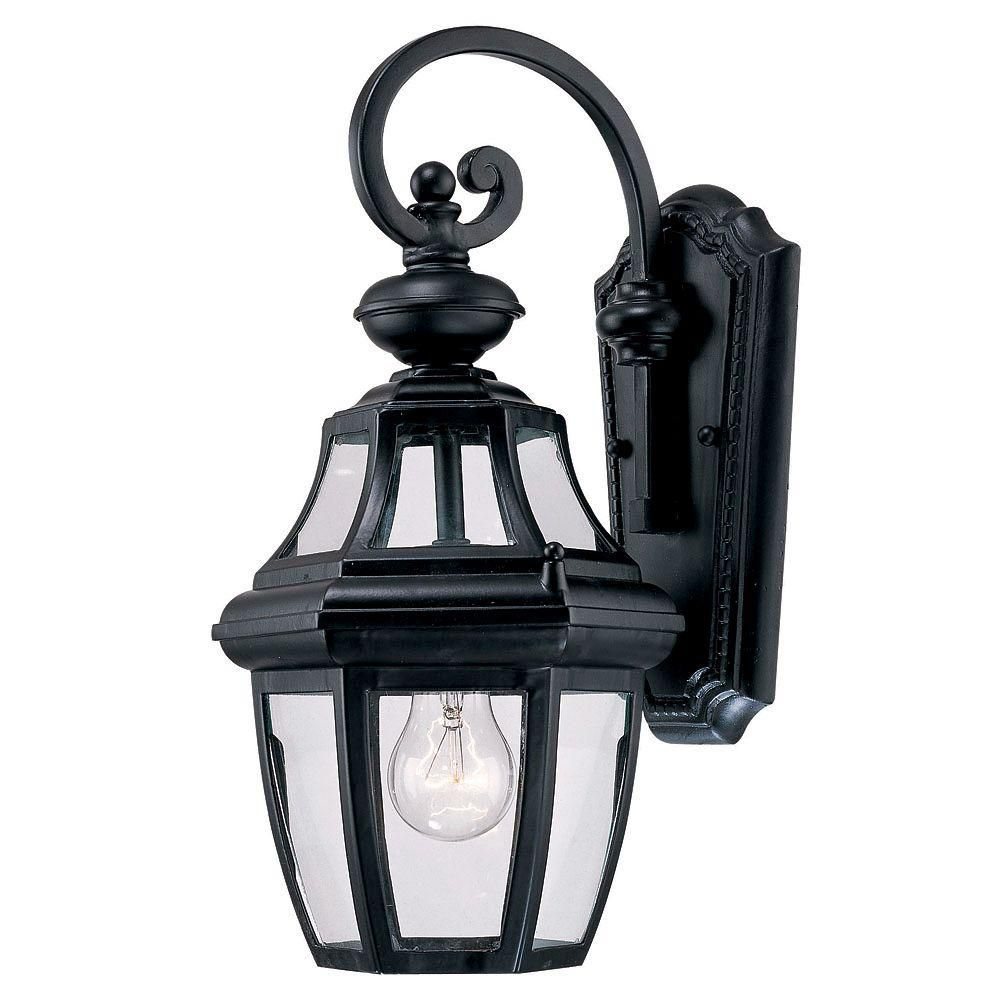 Satin 1 Light Black Incandescent Outdoor Wall Mount With Clear Glass