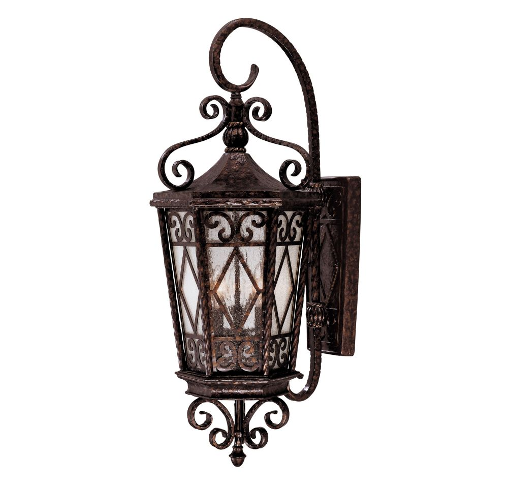 Satin 3 Light Bronze Halogen Outdoor Wall Mount With White Glass