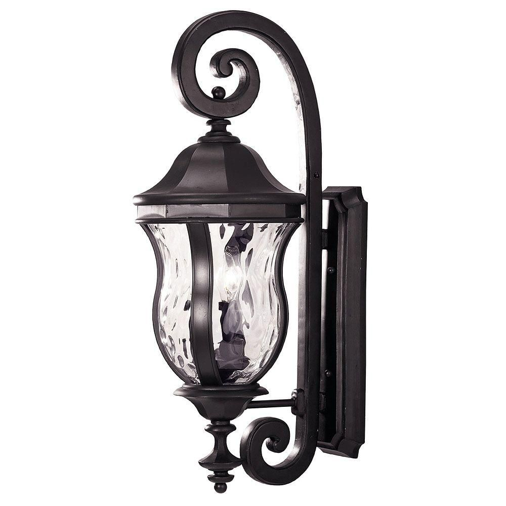 Satin 3 Light Black Halogen Outdoor Wall Mount With Clear Glass