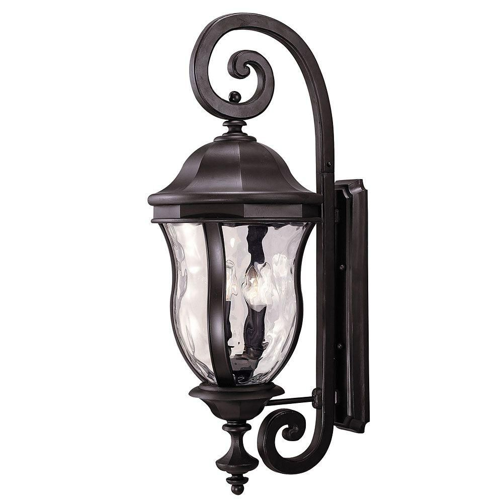 Satin 4 Light Bronze Halogen Outdoor Wall Mount With Clear Glass