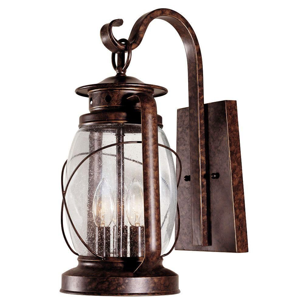 Satin 3 Light Bronze Halogen Outdoor Wall Mount With Clear Glass