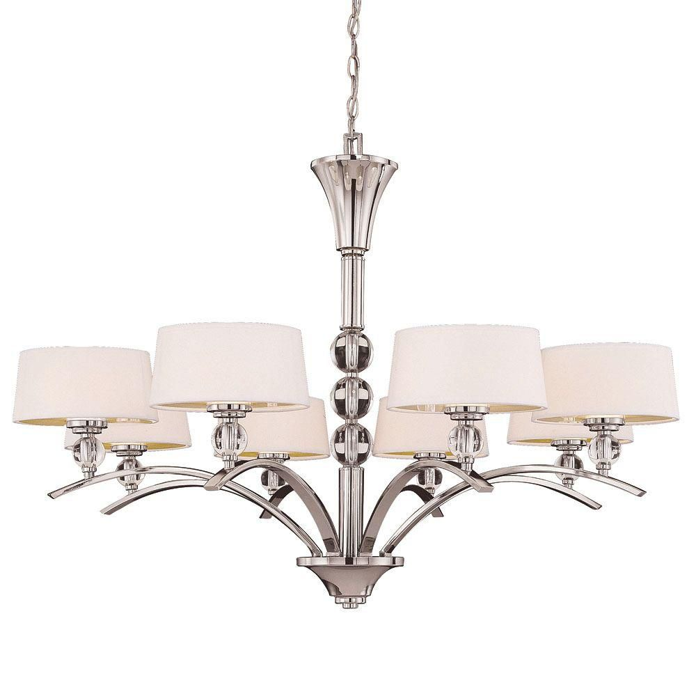 Satin 5 Light Nickel Fluorescent Chandelier With White Glass