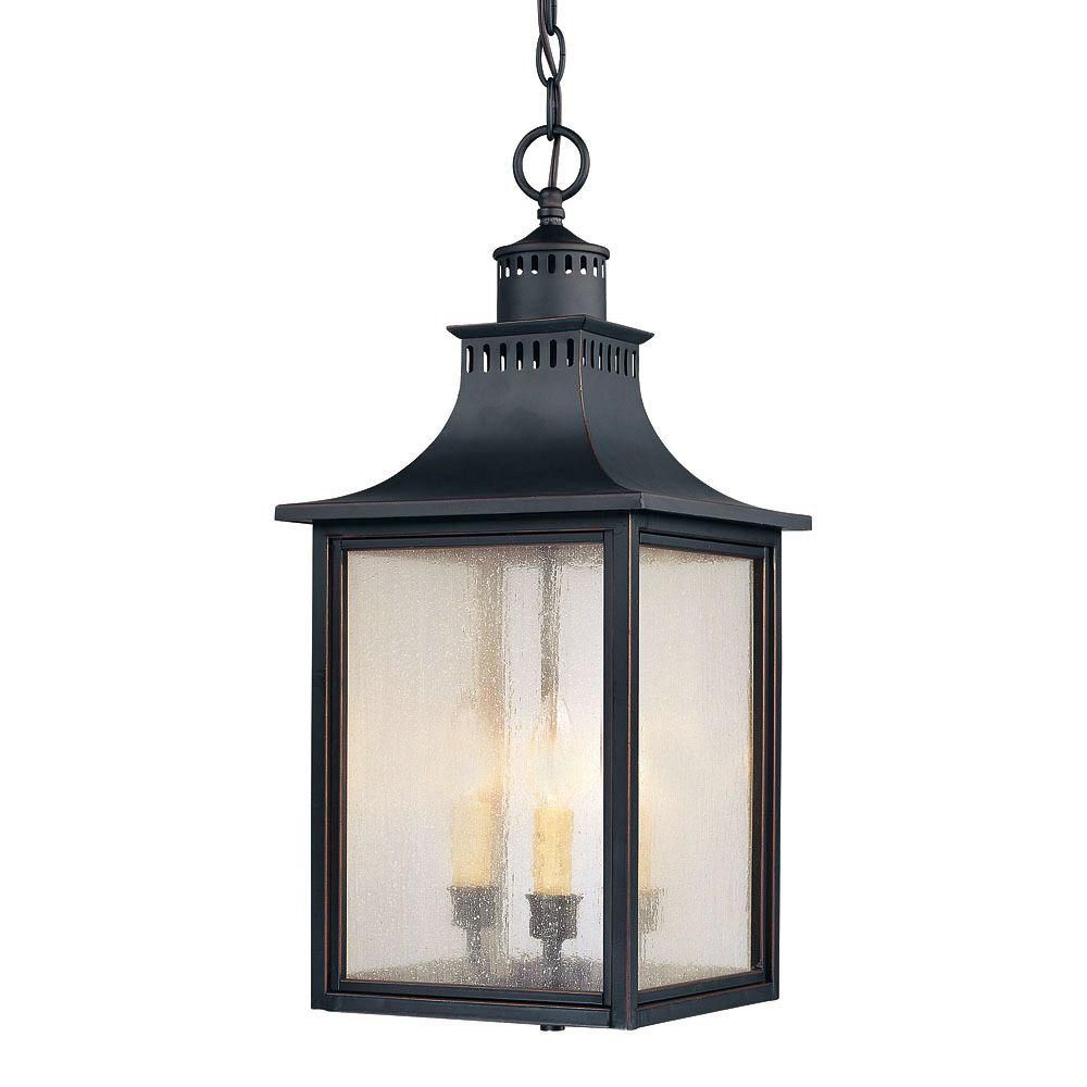 Satin 3 Light Black Halogen Outdoor Hanging Lantern With White Glass