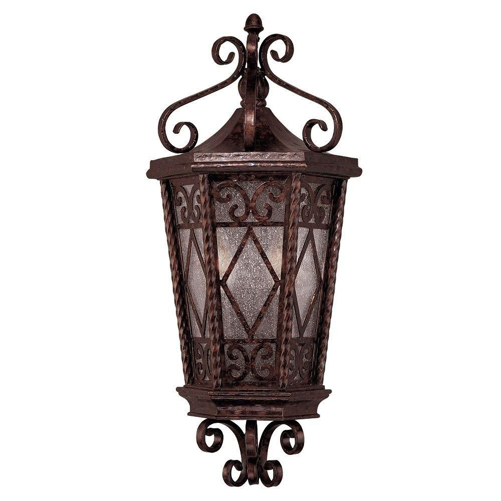 Satin 2-Light Bronze Outdoor Pocket Lantern with White Glass