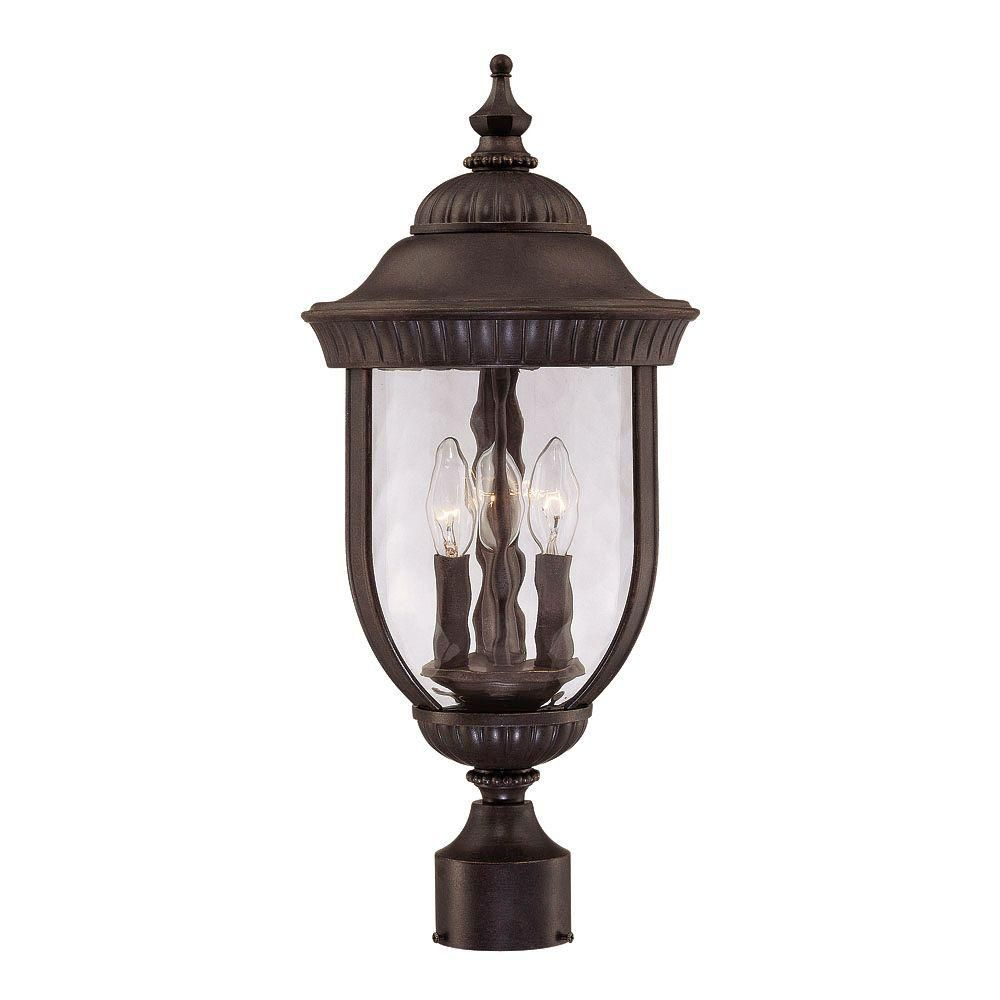 Satin 3 Light Black Halogen Outdoor Hanging Lantern With Clear Glass