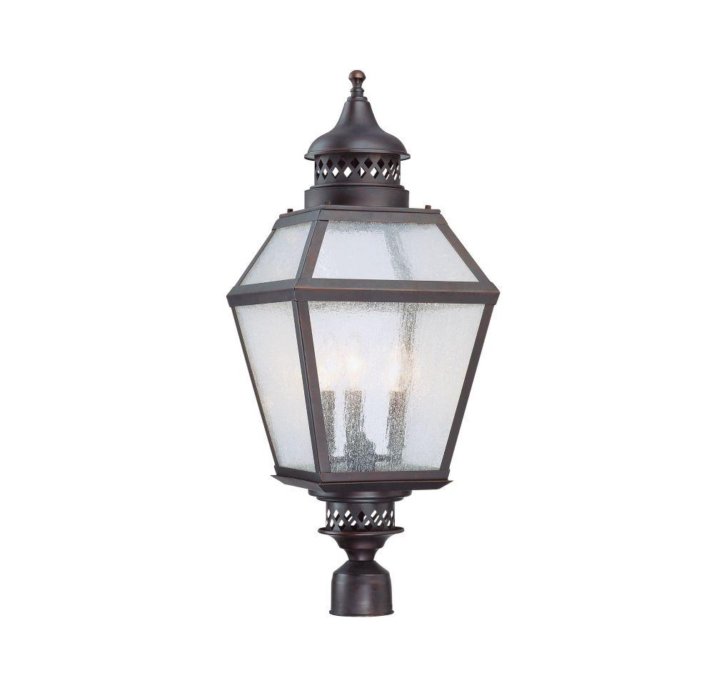 Satin 3-Light Bronze Outdoor Post Lantern with White Glass