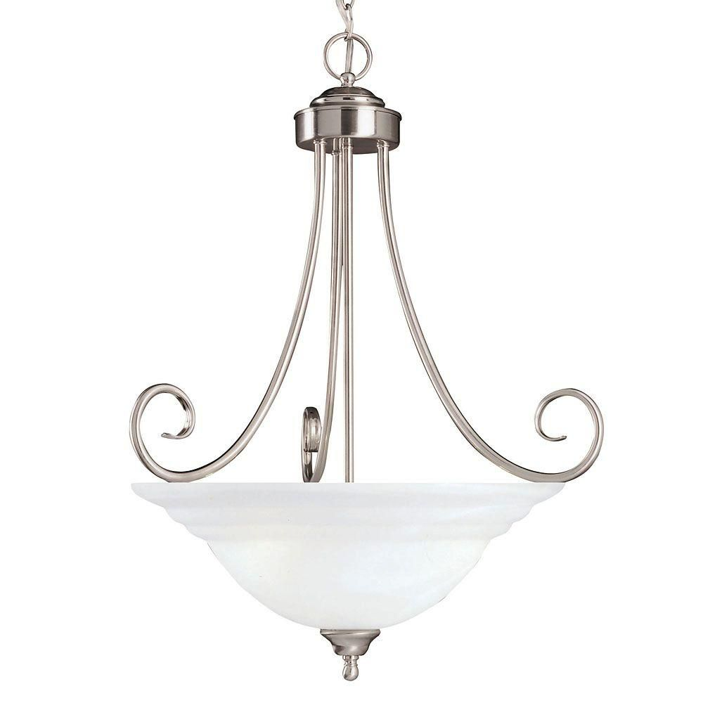 Satin 3 Light Nickel Incandescent Pendant With White Glass