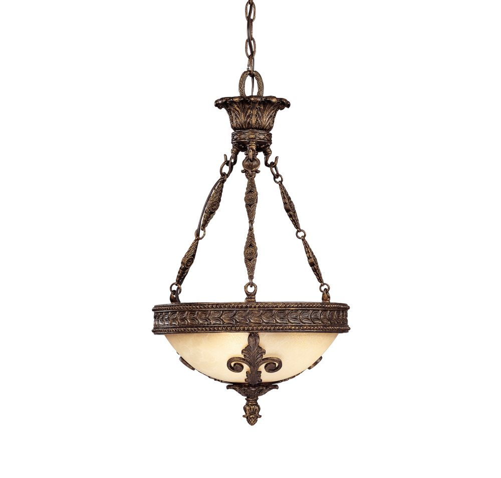 Satin 3-Light Bronze Pendant with White Glass