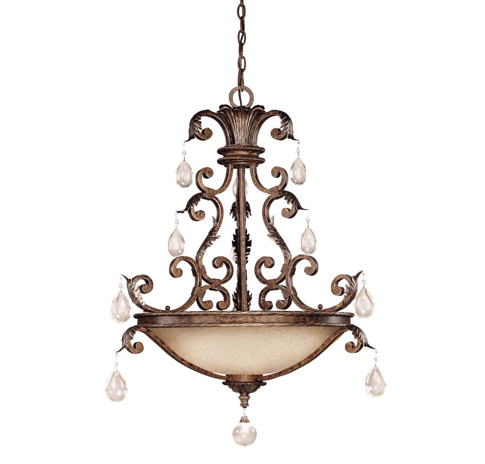 Satin 5-Light Bronze Pendant with Clear Glass