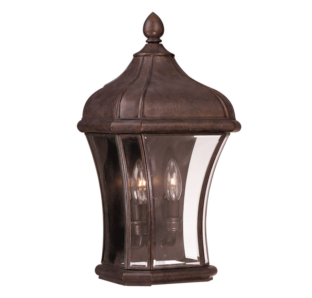 Satin 2 Light Bronze Incandescent Outdoor Pocket Lantern With Clear Glass