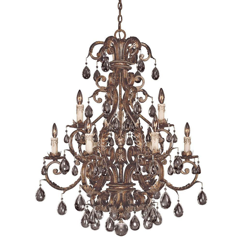 Satin 9 Light Bronze Incandescent Chandelier With Clear Glass