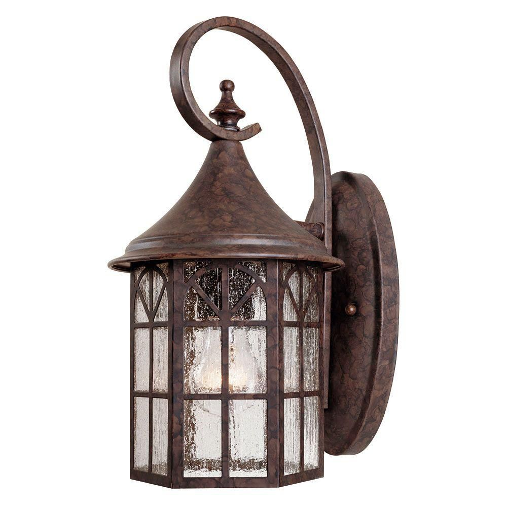 Satin 1-Light Bronze Outdoor Wall Mount with White Glass