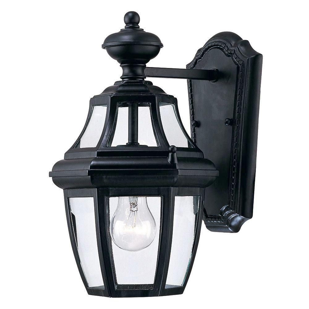 Satin 1-Light Black Outdoor Wall Mount with Clear Glass
