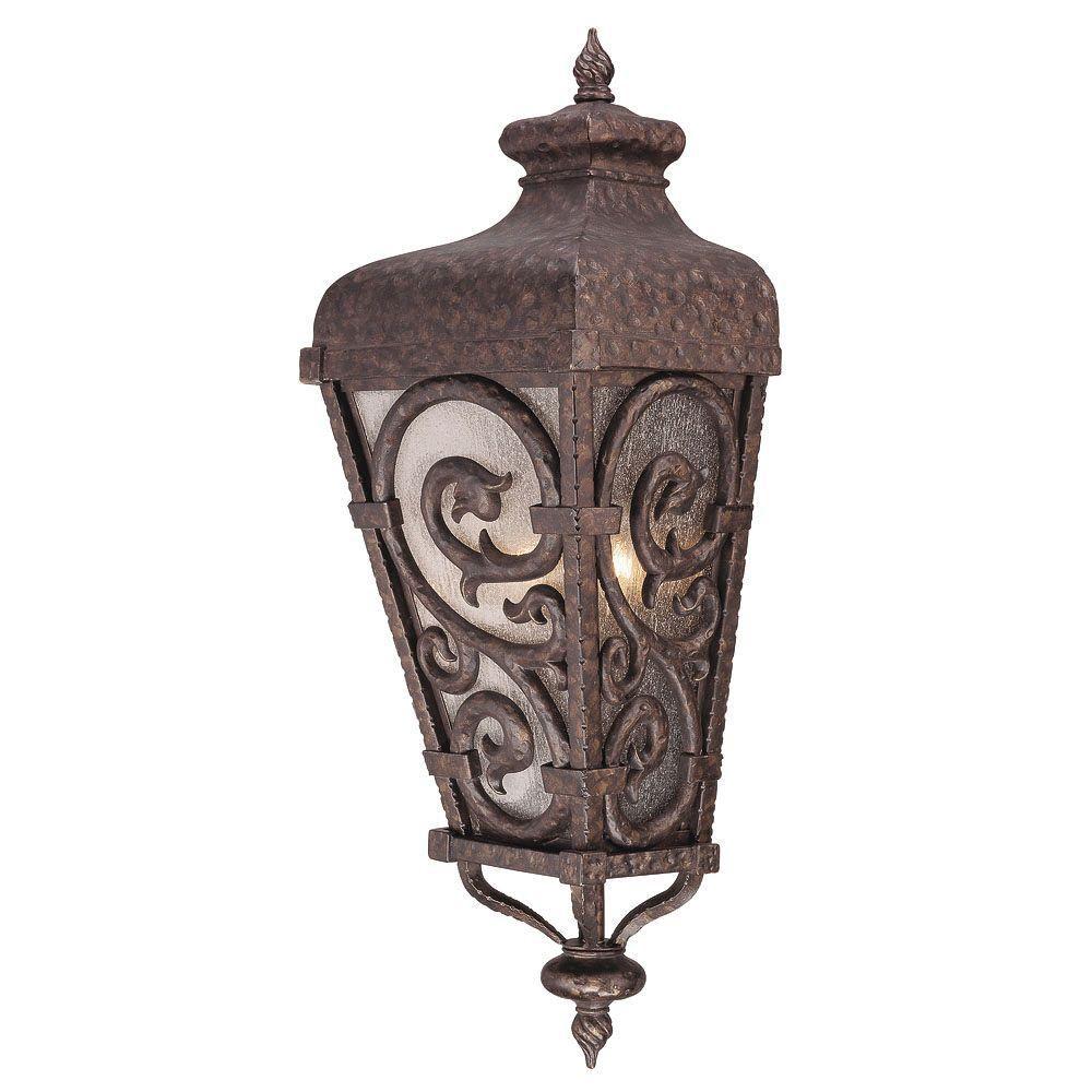 Satin 2-Light Bronze Outdoor Pocket Lantern with White Glass