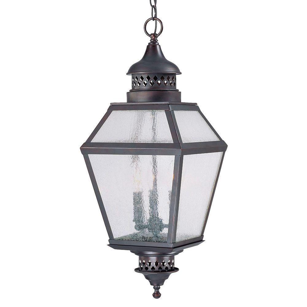 Satin 3 Light Bronze Halogen Outdoor Hanging Lantern With White Glass