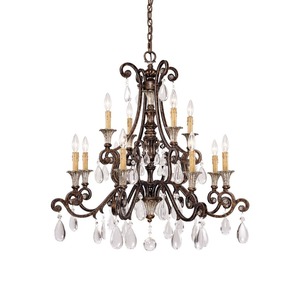 Satin 12 Light Bronze Incandescent Chandelier With Clear Glass