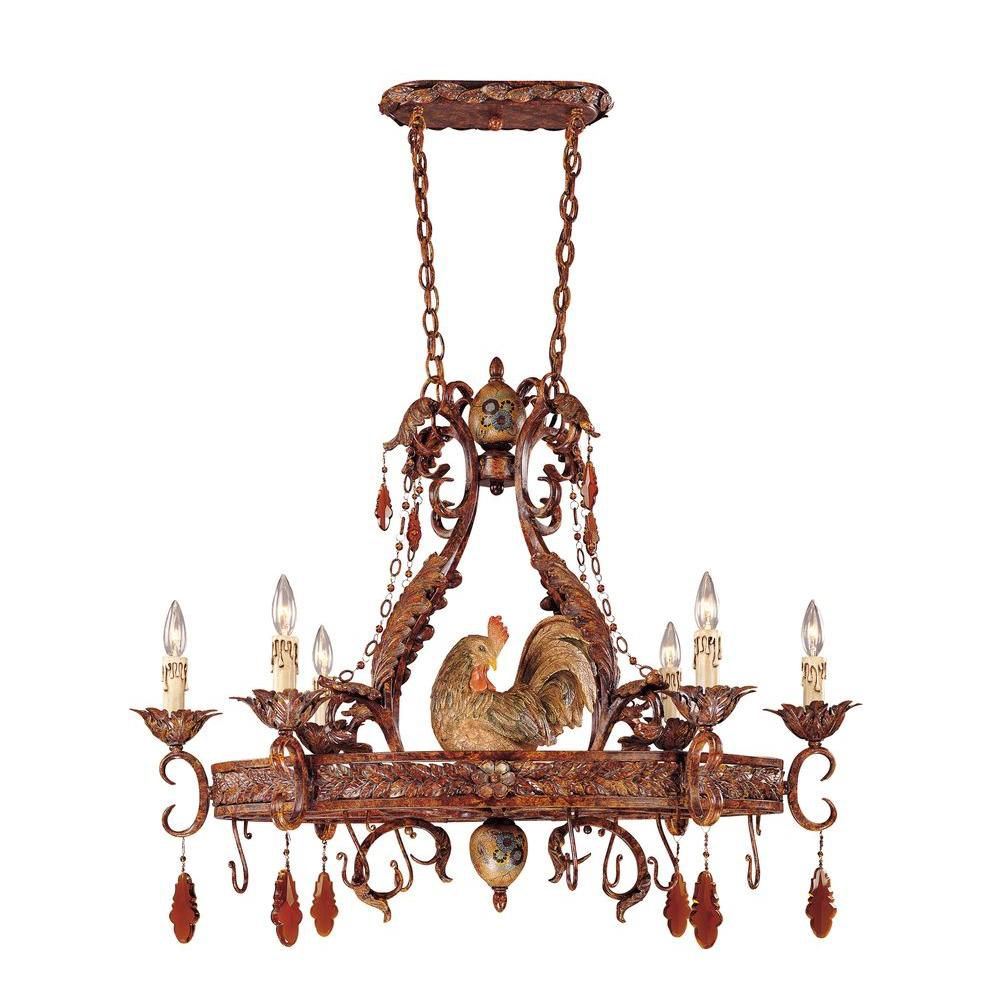 Satin 6-Light Bronze Chandelier with Amber Glass