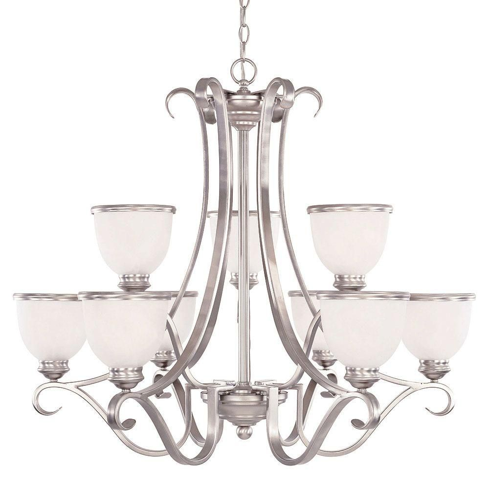 Satin 9-Light Nickel Chandelier with White Glass