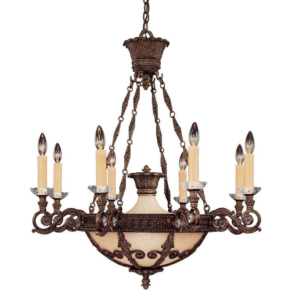 Satin 8 Light Bronze Incandescent Chandelier