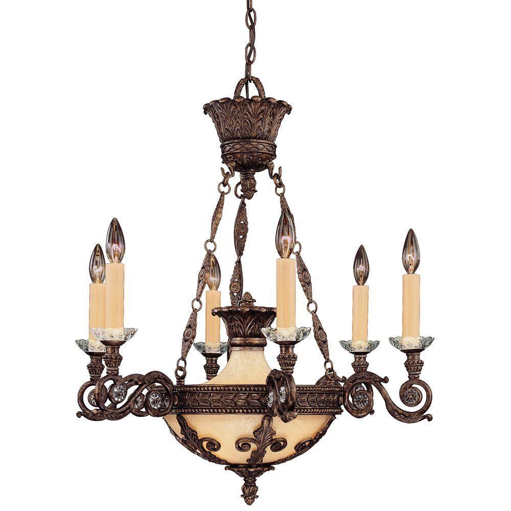 Satin 6-Light Bronze Chandelier