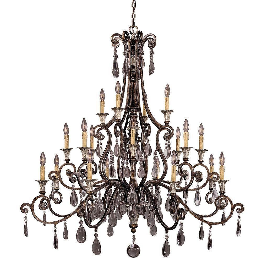 Satin 20 Light Bronze Halogen Chandelier With Clear Glass