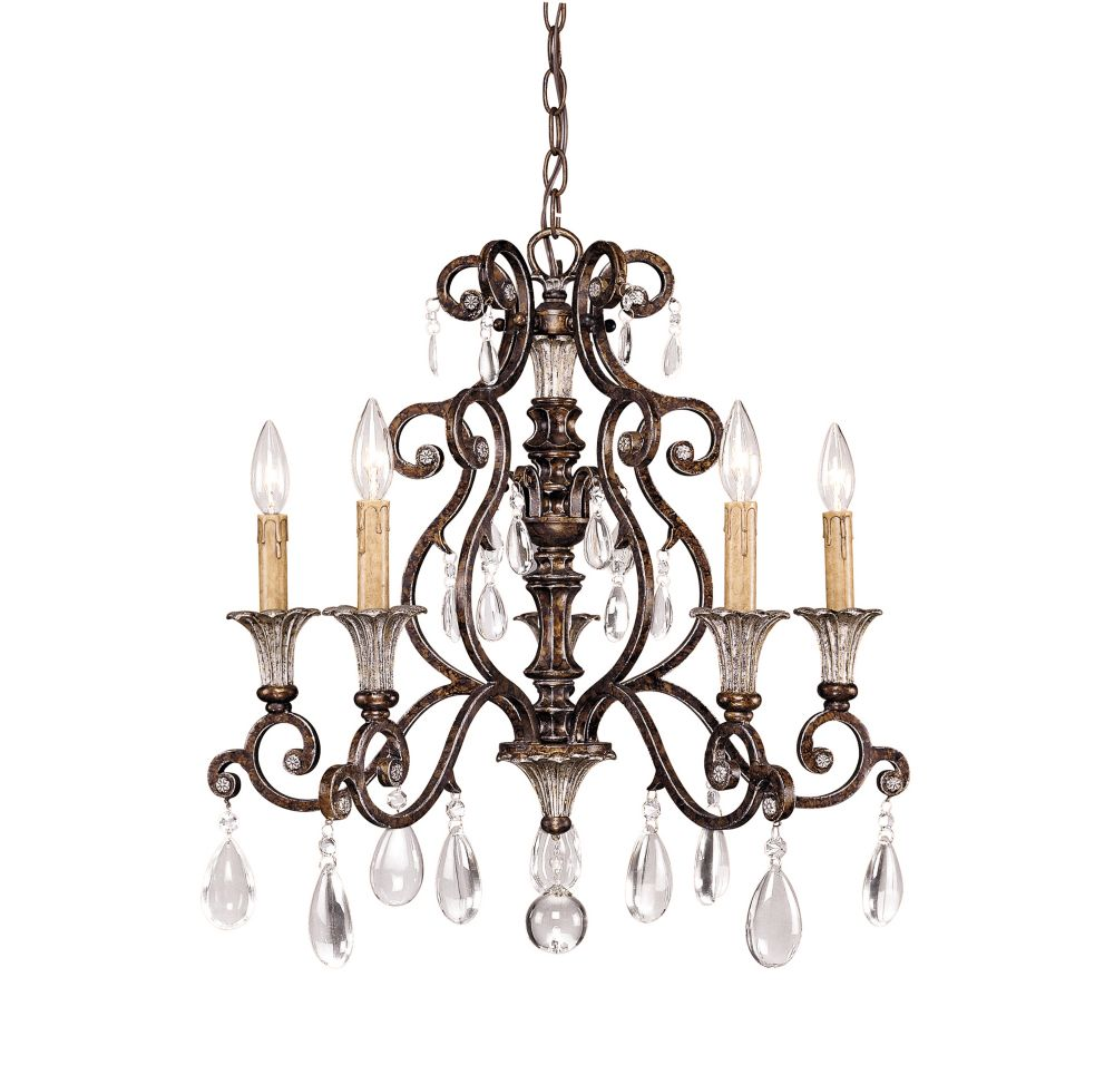 Satin 5-Light Bronze Chandelier with Clear Glass