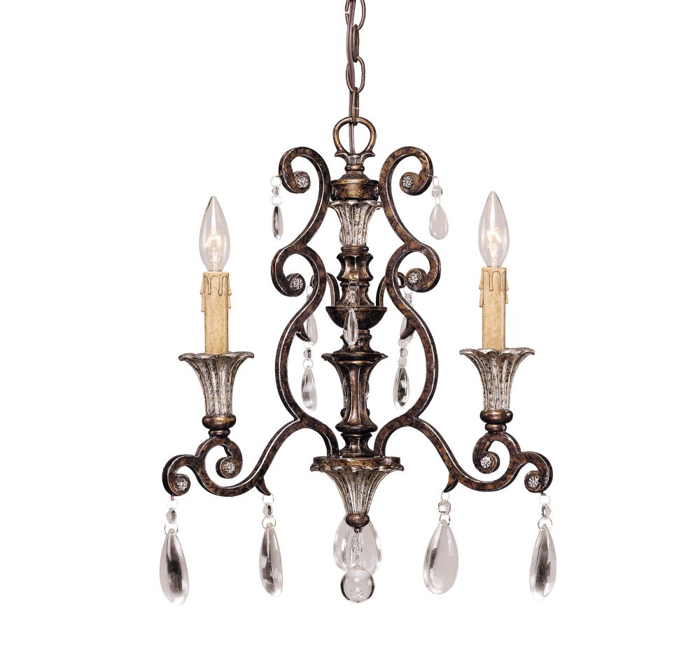 Satin 3 Light Bronze Incandescent Chandelier With Clear Glass