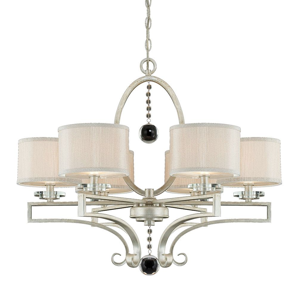Satin 6 Light Silver Incandescent Chandelier With Silver Fabric Glass