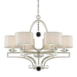 Illumine Satin 6-Light Silver Chandelier with Silver Fabric Glass
