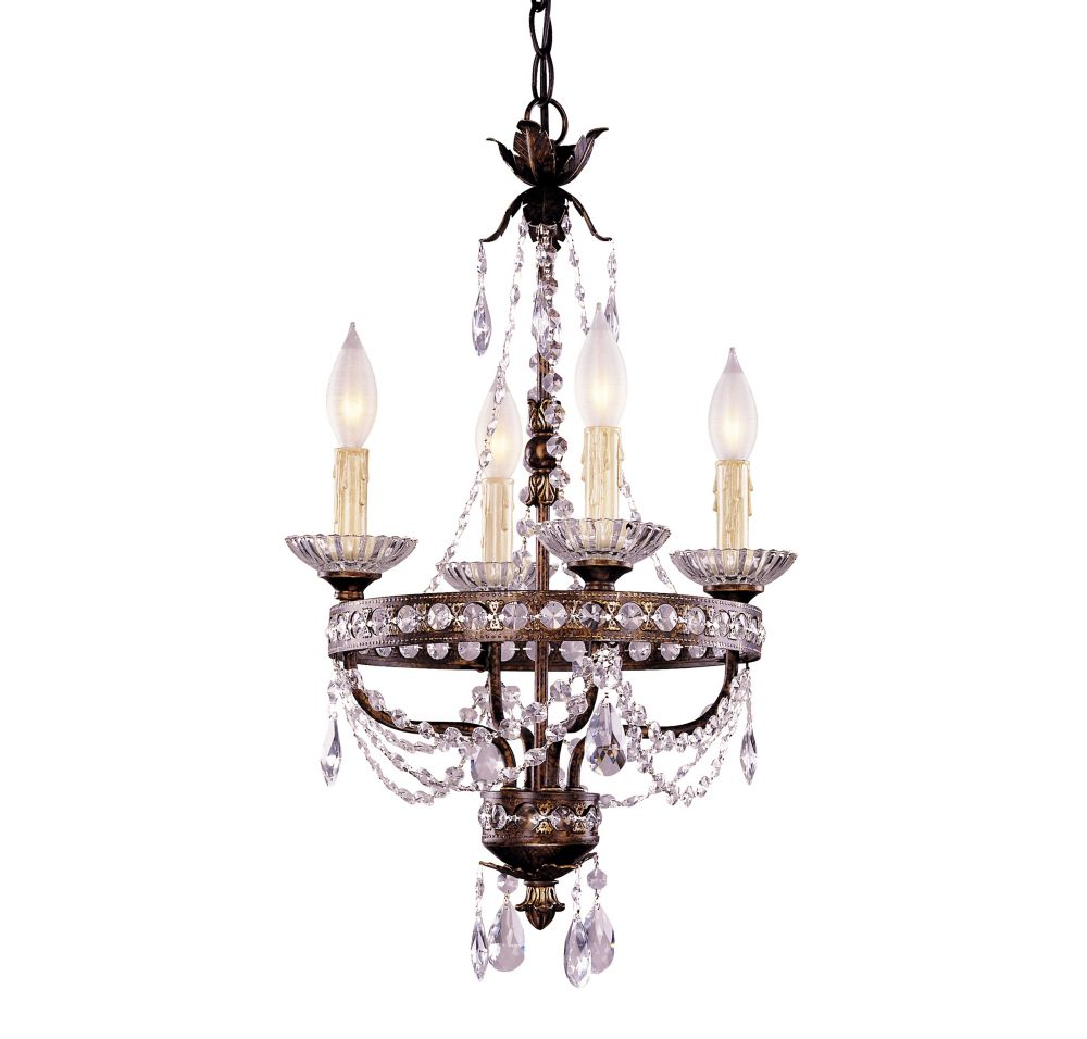 Satin 4 Light Bronze Incandescent Chandelier With Clear Glass