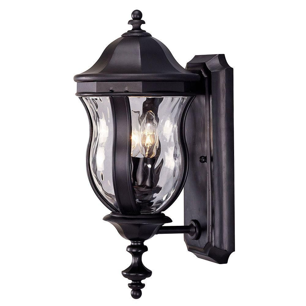 Satin 2 Light Black Halogen Outdoor Wall Mount With Clear Glass