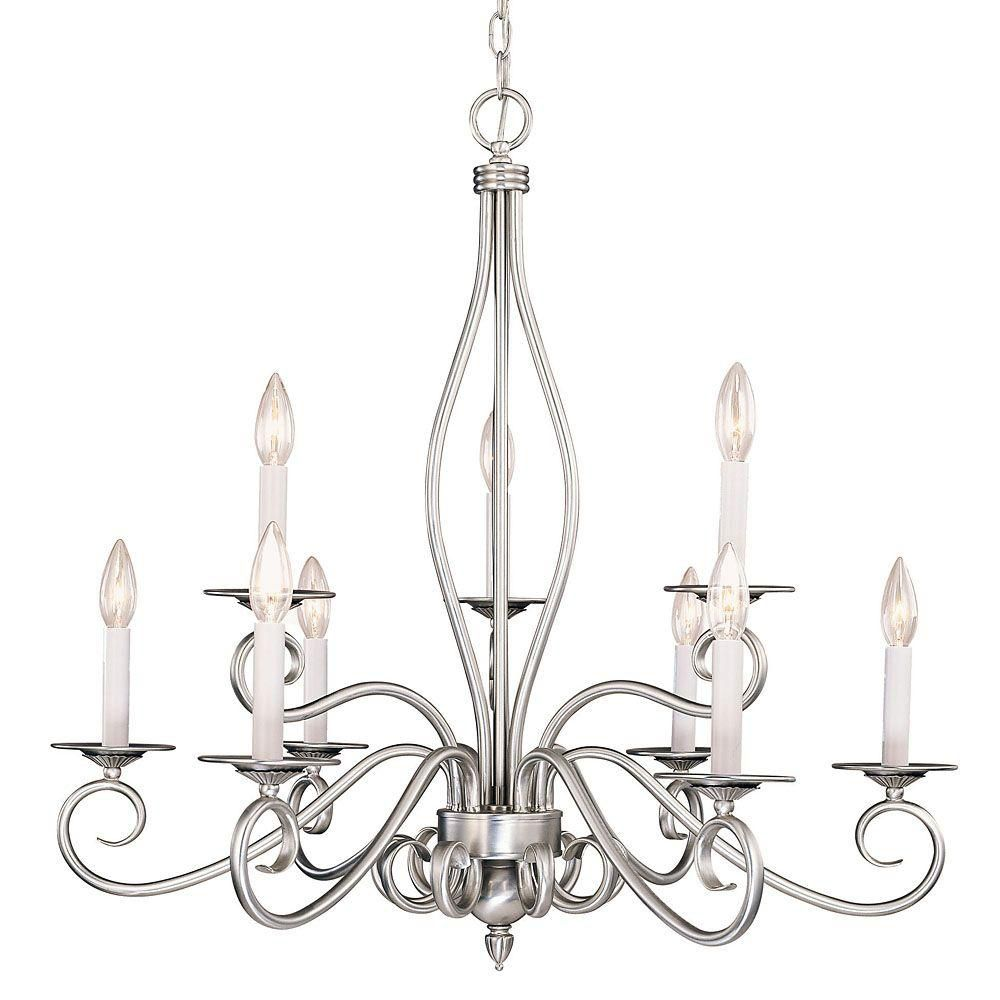Satin 9-Light Nickel Chandelier