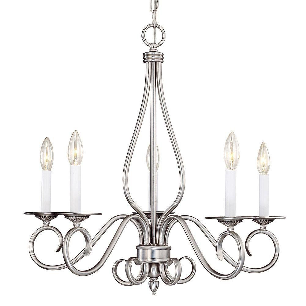 Satin 5-Light Nickel Chandelier
