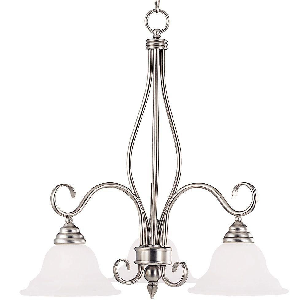 Satin 3 Light Nickel Incandescent Chandelier With White Glass