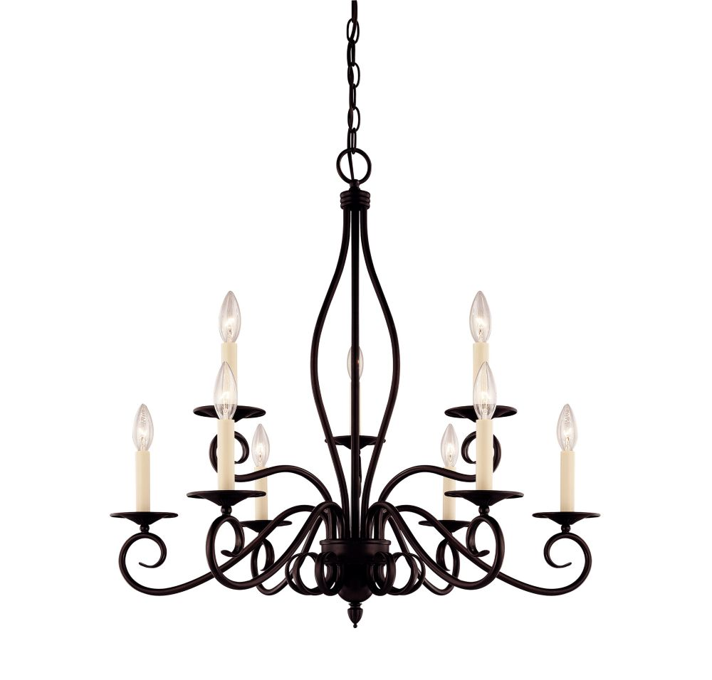 Satin 9-Light Bronze Chandelier