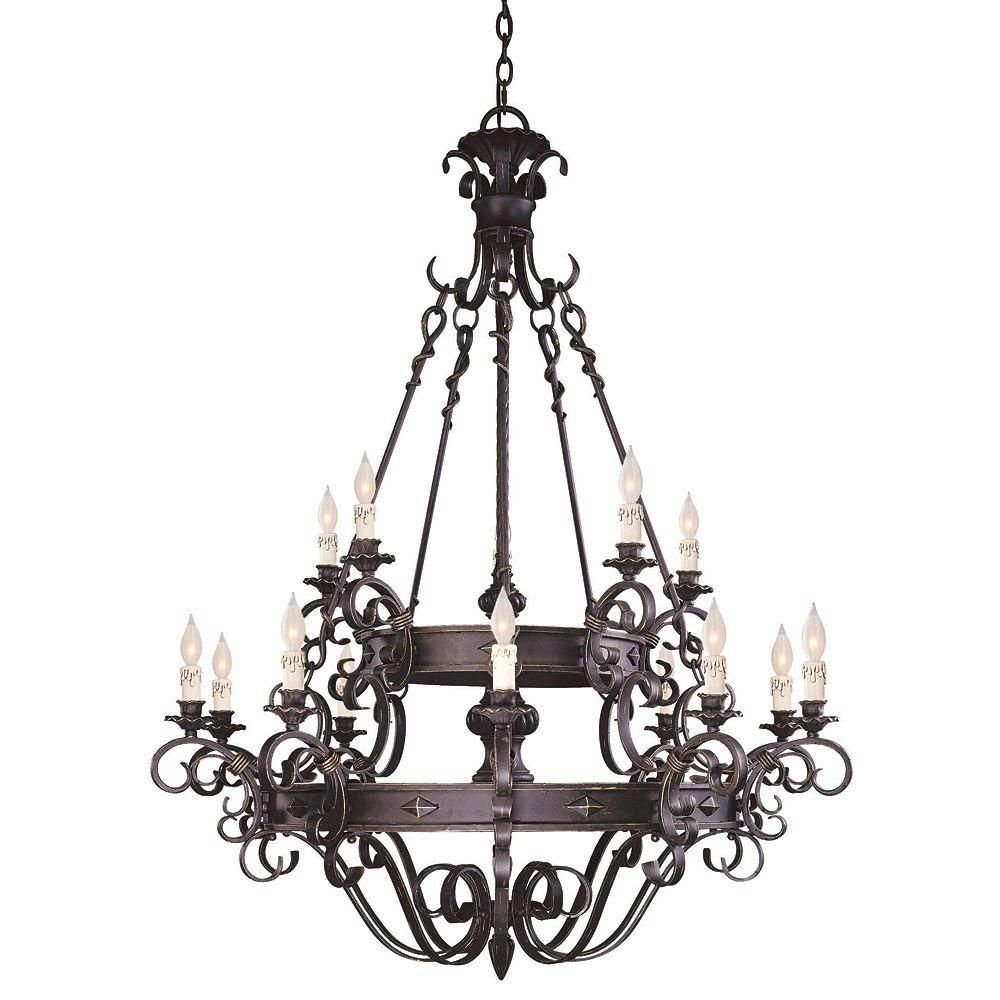Satin 15 Light Black Halogen Chandelier