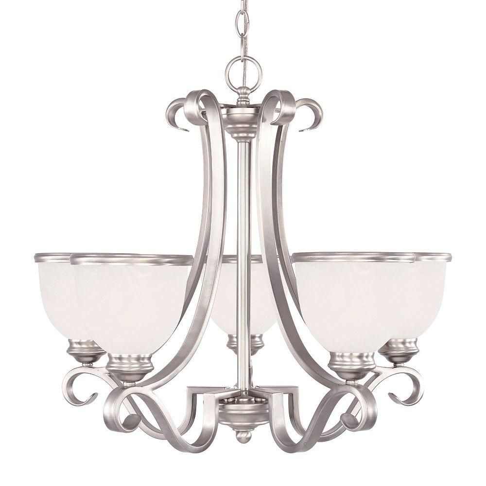 Satin 5-Light Nickel Chandelier with White Glass