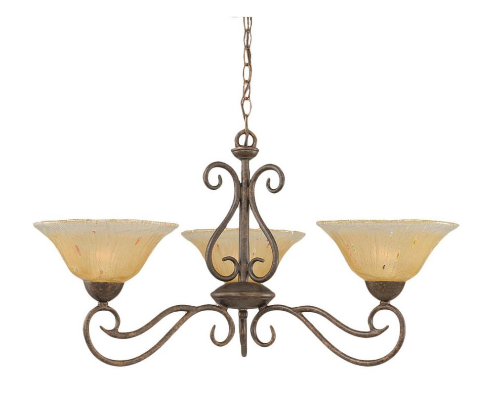 Concord 3-Light Ceiling Bronze Chandelier with an Amber Glass