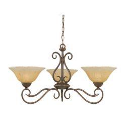 Filament Design Concord 3 lumières plafond Bronze Lustre incandescence par un verre ambre