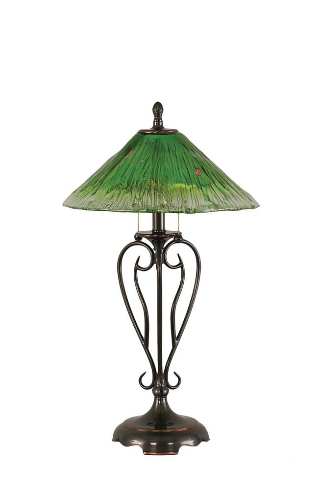 Concord 16 in Black Copper Table Lamp with a Green Crystal Glass