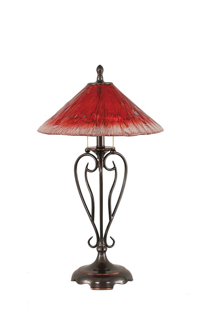 Concord 1125 in Black Copper Incandescent Table Lamp with a Raspberry Crystal Glass