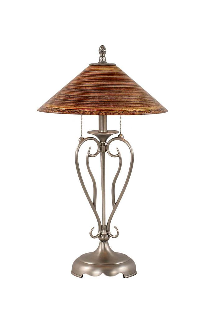 Concord 16 in Brushed Nickel Incandescent Table Lamp with a Firré Saturn Glass