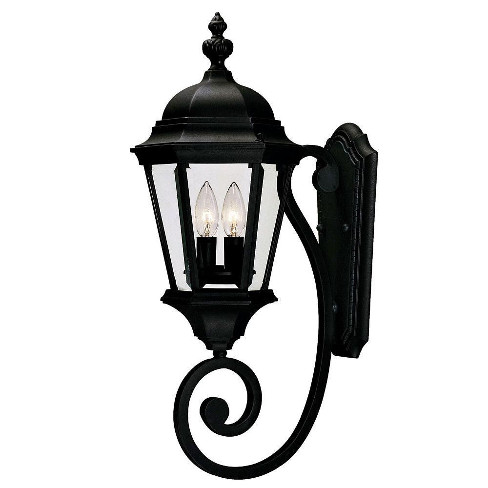 Satin 2-Light Black Outdoor Wall Mount with Clear Glass