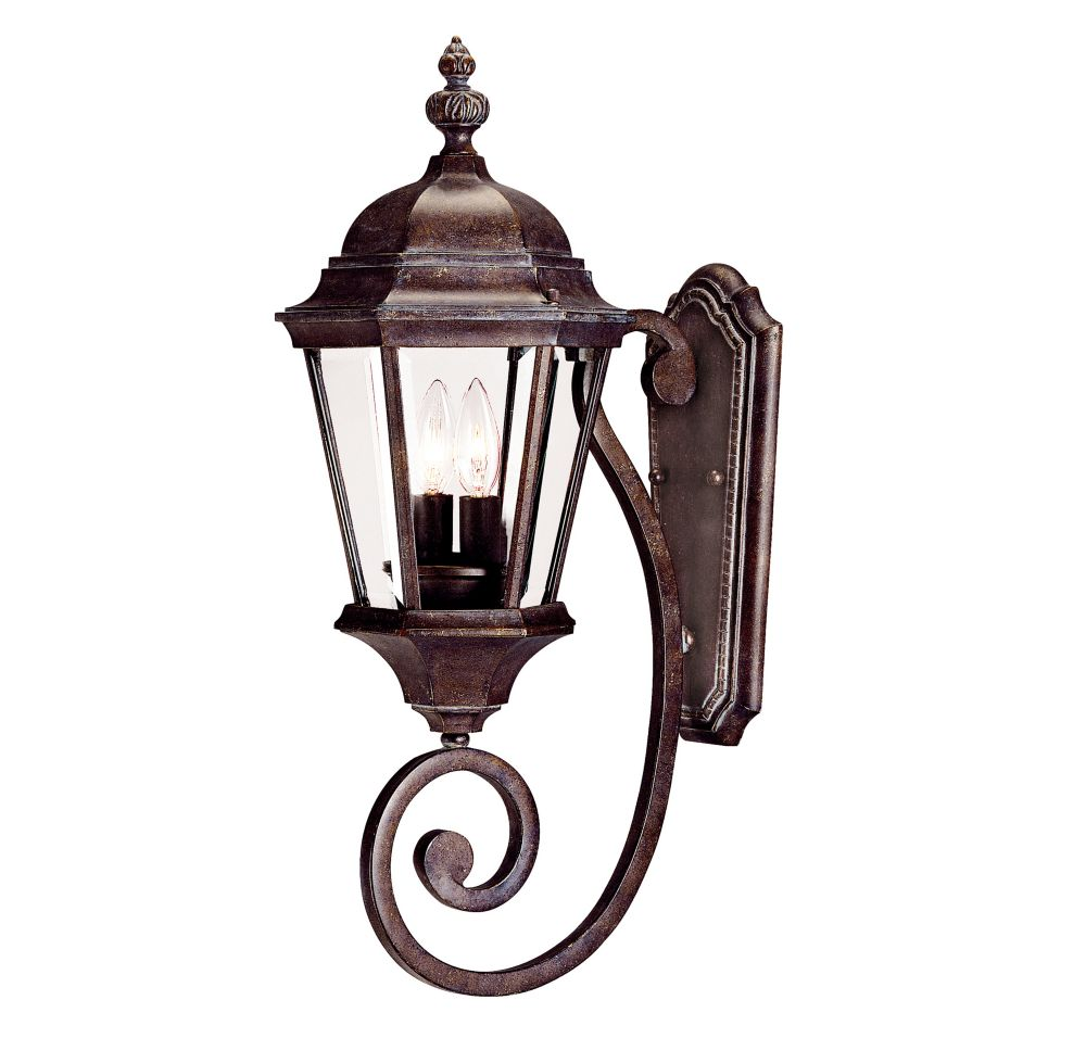 Satin 2 Light Bronze Incandescent Outdoor Wall Mount With Clear Glass