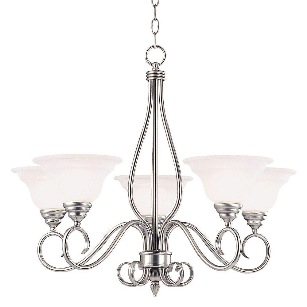 Satin 5 Light Nickel Incandescent Chandelier With White Glass