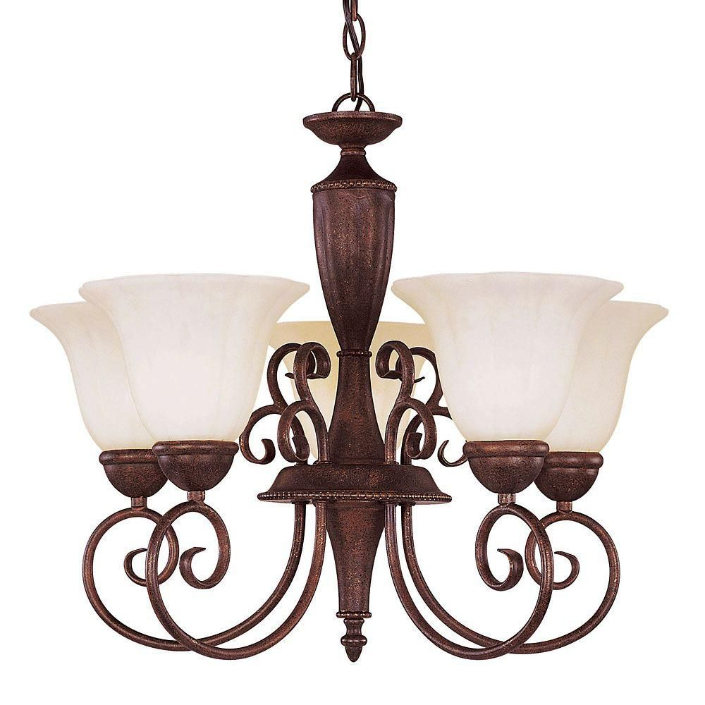 Satin 5 Light Bronze Incandescent Chandelier With White Glass