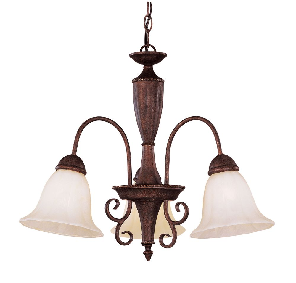 Satin 3 Light Bronze Incandescent Chandelier With White Glass