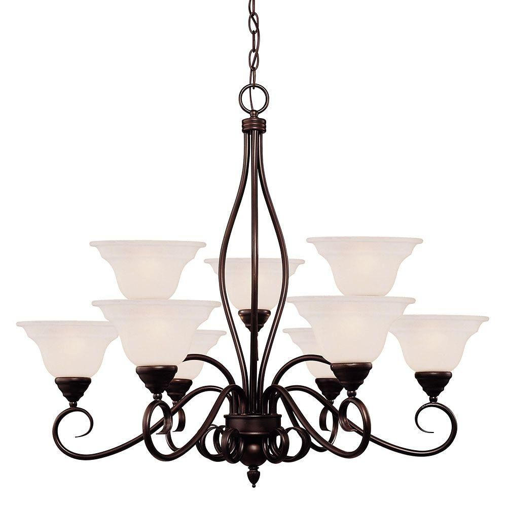Satin 9 Light Bronze Incandescent Chandelier With White Glass