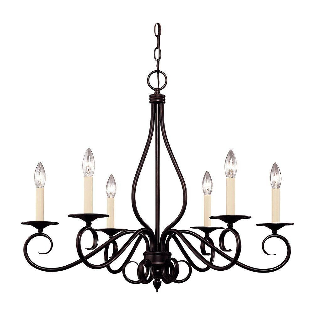 Illumine Satin 6-Light Bronze Chandelier with White Glass