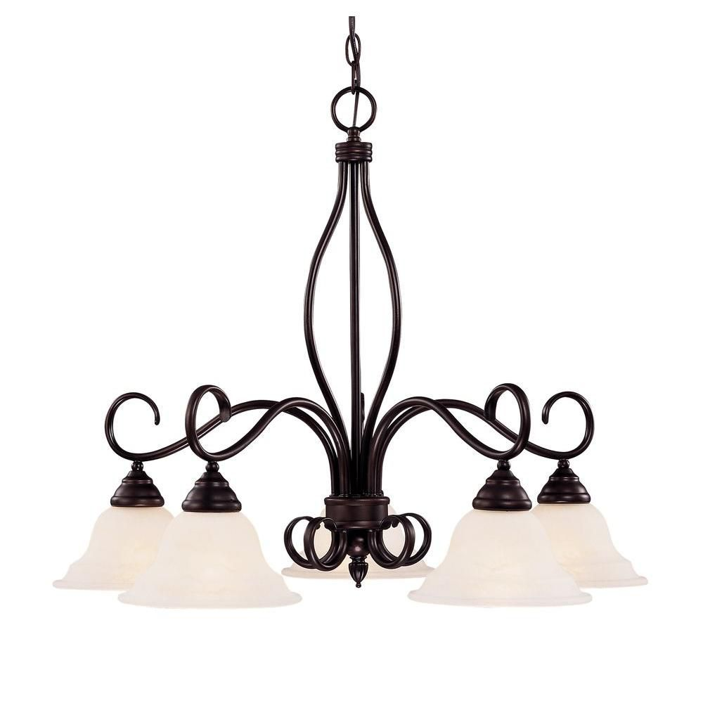 Satin 5-Light Bronze Chandelier with White Glass